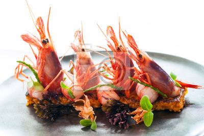 Riesengarnelen mit frischen Meeresfrüchten Reis.