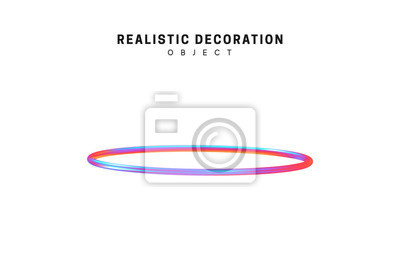 Poster Ring Realistic shape 3d objects with gradient holographic color of hologram. Geometric decorative design elements isolated on white background. vector illustration.
