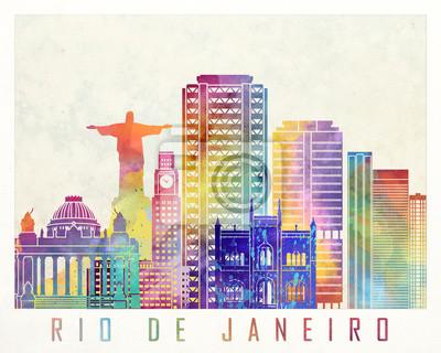 Rio de Janeiro Wahrzeichen Aquarell Poster