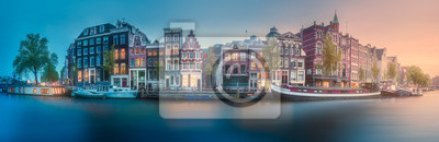 Poster River, canals and traditional old houses Amsterdam
