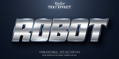 Poster Robot text, shiny silver color style editable text effect