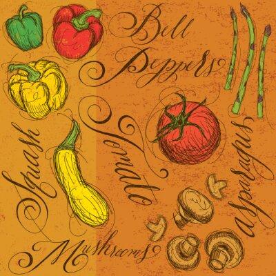 Poster Rohes Gemüse mit Kalligraphie