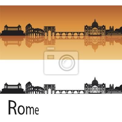 Rom Skyline in orangefarbenen Hintergrund