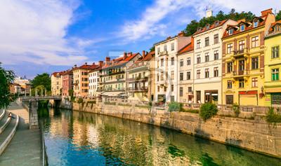 Romantic beautiful Ljubljana city, capital of Slovenia. Urban scene with canals