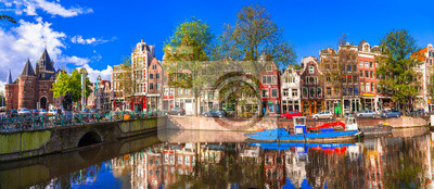 Romantic canalas of Amsterdam. Travel in Holland