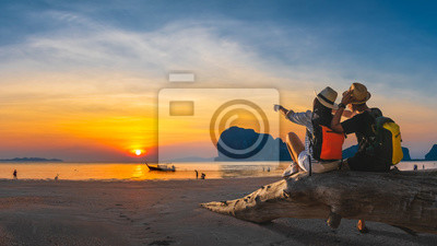 Poster Romantic couple traveler joy look beautiful nature at sunset Pak Meng beach Outdoor lifestyle attraction travel Trang Thailand exotic beach Tourist on summer holiday vacation, Tourism destination Asia