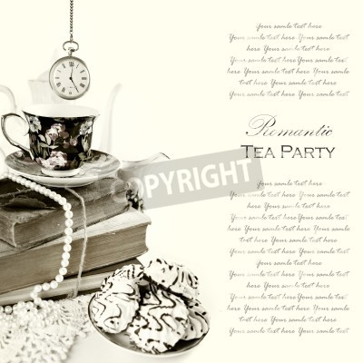 Poster Romantic English 5 o'clock Tea Party Background with vintage pocket watch and sweets