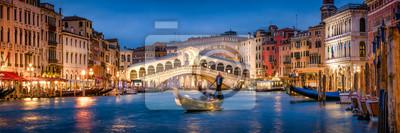 Poster Romantic gondola ride near Rialto Bridge in Venice, Italy