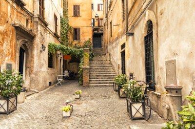 Poster Romantische Gasse im alten Teil von Rom, Italien