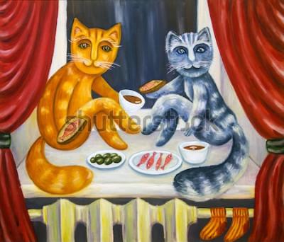 Poster Romantisches Katzendinner. Eine Katze und eine Dame speisen zusammen auf der Fensterbank. Haustiere im Inneren der Wohnung. Ölgemälde. Handgemachte Kunstwerke.