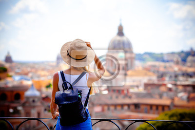 Poster Rome Europe Italia travel summer tourism holiday vacation background -young smiling girl with mobile phone camera and map in hand standing on the hill looking on the cathedral Vatican