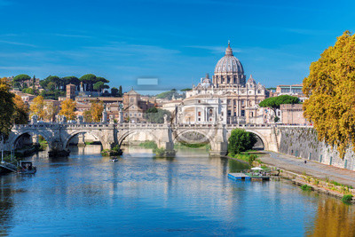 Poster Rome Skyline with Vatican St Peter Basilica at sunny autumn day, Rome Italy.