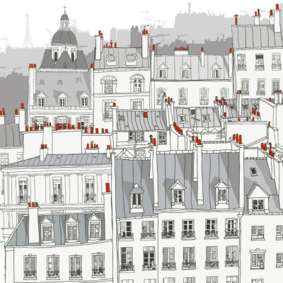 Poster Roofs of Paris