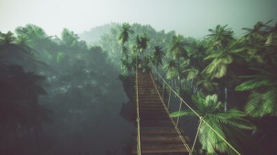 Poster Rope bridge in misty jungle with palms. Backlit.