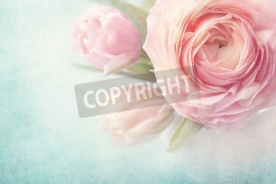 Poster Rosa Blumen in einer Vase