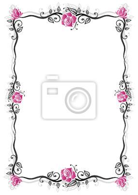 Blumen Bilderrahmen ranke flora blumen rahmen schwarz rosa wandposter