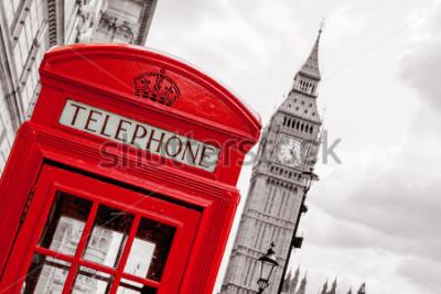 Poster Rote Telefonzelle und Big Ben. London, England