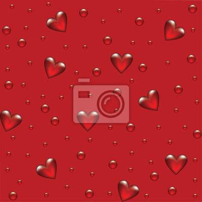 rotem Hintergrund mit transparenten Herzen