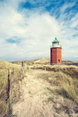 Poster roter Leuchtturm in den Dünen
