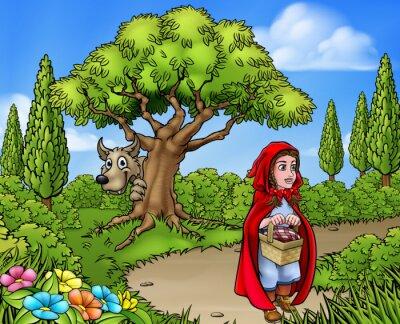 Poster Rotkäppchen Cartoon-Szene