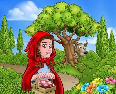 Poster Rotkäppchen und Wolfszene