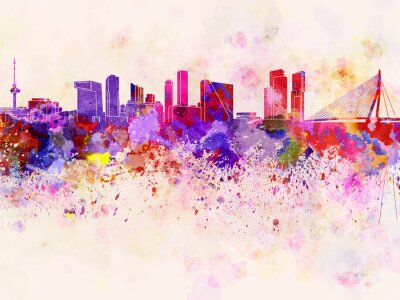 Rotterdam skyline in watercolor background