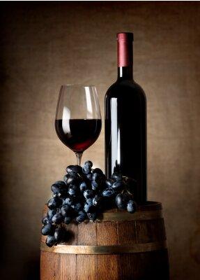 Poster Rotwein mit Fass und Trauben