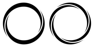 Poster Round circular banner frames, borders, vector hand drawn, circular markers highlighting text