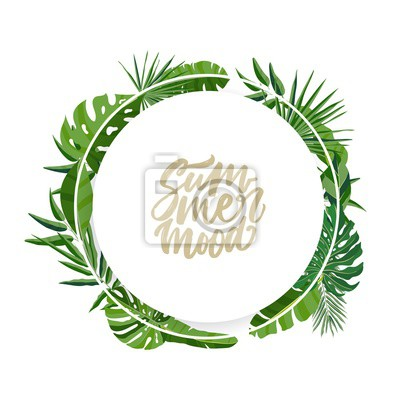 Poster Round garland or wreath made of palm tree leaves or foliage of rainforest plants and lettering Summer Mood inside. Elegant natural composition isolated on white background. Vector illustration.