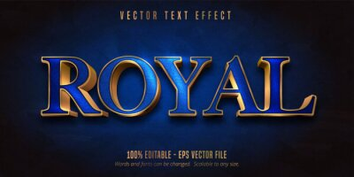 Poster Royal text, blue color and shiny gold style editable text effect