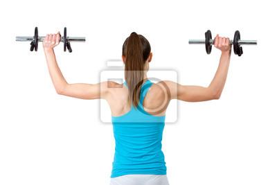 Rückansicht einer Frau, Gewichte zu heben.