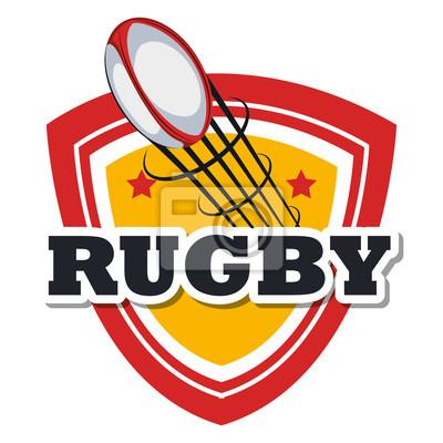 Poster Rugby-Ball fliegen Design Vektor-Illustration eps 10