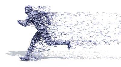 Poster Running Man aus Blöcken
