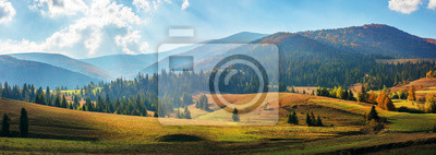 Poster rural area of carpathian mountains in autumn. wonderful panorama of borzhava mountains in dappled light observed from podobovets village. agricultural fields on rolling hills near the spruce forest