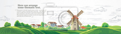 Poster Rural colorful landscape with a mill and graphically drawn monochrome sky.