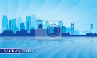 Sacramento Stadt Skyline Silhouette Hintergrund