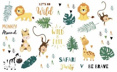 Poster Safari object set with monkey,giraffe,zebra,lion,leaves. illustration for logo,sticker,postcard,birthday invitation.Editable element