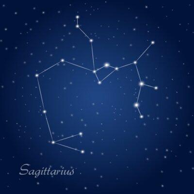 Poster Sagittarius constellation zodiac sign at starry night sky