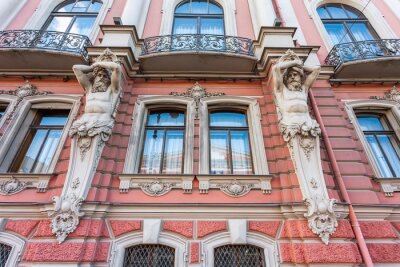 Saint Petersburg, Russia, June 13, 2020. Nevsky prospect is the main street of the city. Architectural ensemble. fragment of facade