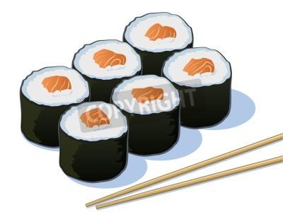 Poster Salmon Sushi Rolls mit Stäbchen
