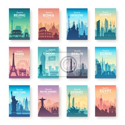 Poster Sammlung von berühmten Stadt Scapes.