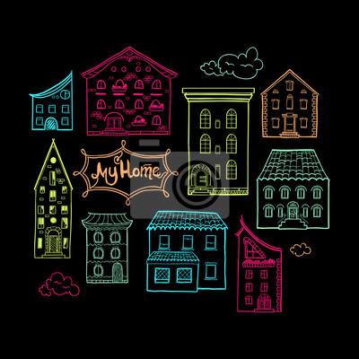 Sammlung von Farbe gekritzelte Häuser, isoliert Hand gezeichnete Skizze der Häuser auf schwarzem Hintergrund, cute doodle Hintergrund mit Platz für Text, Beschriftung My Home, EPS 8