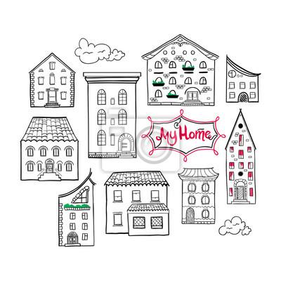 Sammlung von gekritzelten Häusern, isoliert Hand gezeichnete Skizze der Häuser, cute doodle Hintergrund mit Platz für Text, Beschriftung My Home