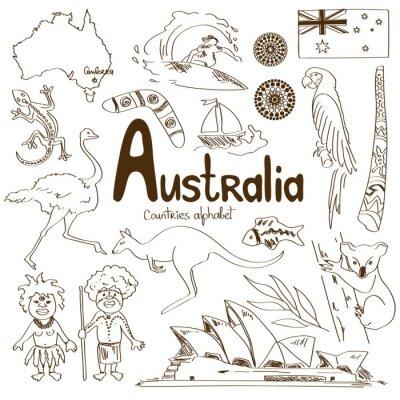 Poster Sammlung von Icons Australien