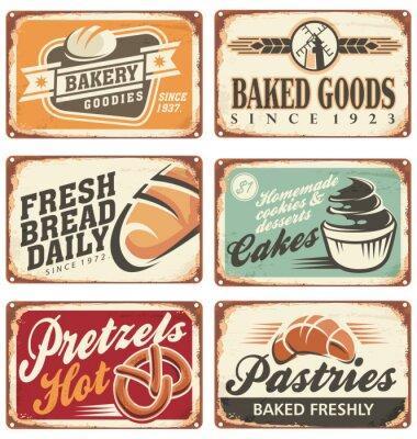 Poster Sammlung von Vintage-Vektor-Bäckerei Zeichen
