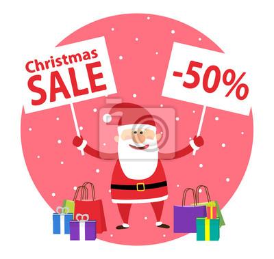 Poster Santa claus mit bannern und einkaufstaschen und geschenkboxen. Weihnachtsverkauf