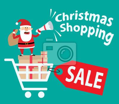 Poster Santa claus mit megaphon stehend auf shopping.christmas shopping.christmas verkauf.