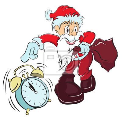 Poster Santa Claus mit Sack Geschenk und Wecker