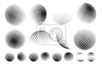Poster Satz der abstrakten Kugel punktierte Kugel, Halbtonpunkteffekt 3d. Erdform. Es kann als Logo, Symbol verwendet werden. Vektor-Illustration. Getrennt auf weißem Hintergrund