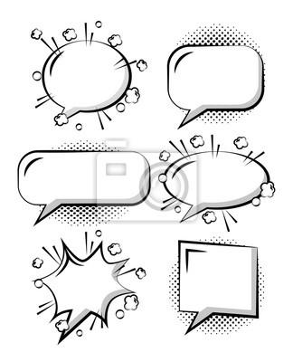 Poster Satz der komischen Pop-Arten-Rede sprudelt weißen Hintergrund